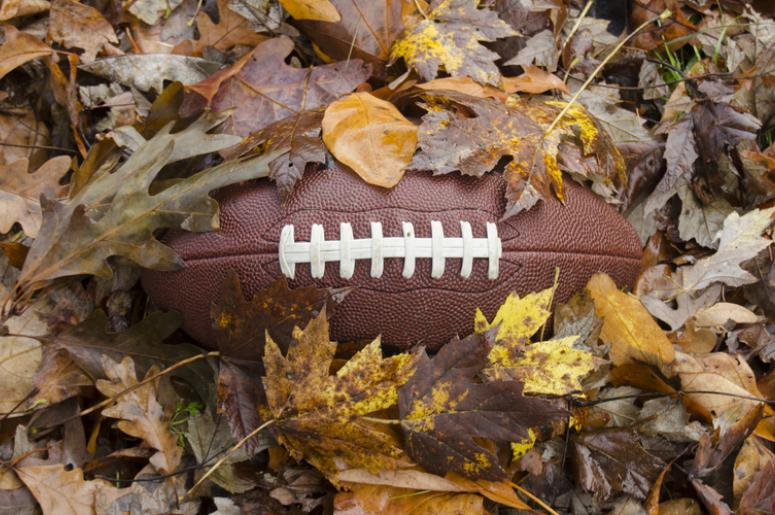Football buried in fall leaves