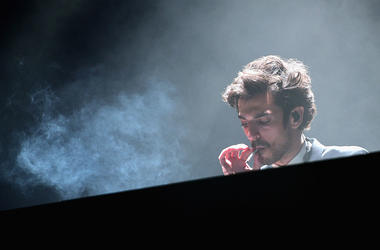 DJ Gesaffelstein performs onstage during day 3 of the 2015 Coachella Valley Music & Arts Festival (Weekend 1) at the Empire Polo Club on April 12, 2015 in Indio, California