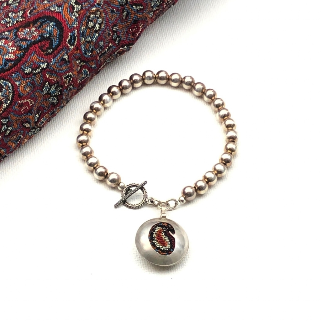 Pink Quartz and termeh Handmade Persian Paisley Silver one of a kind Necklace