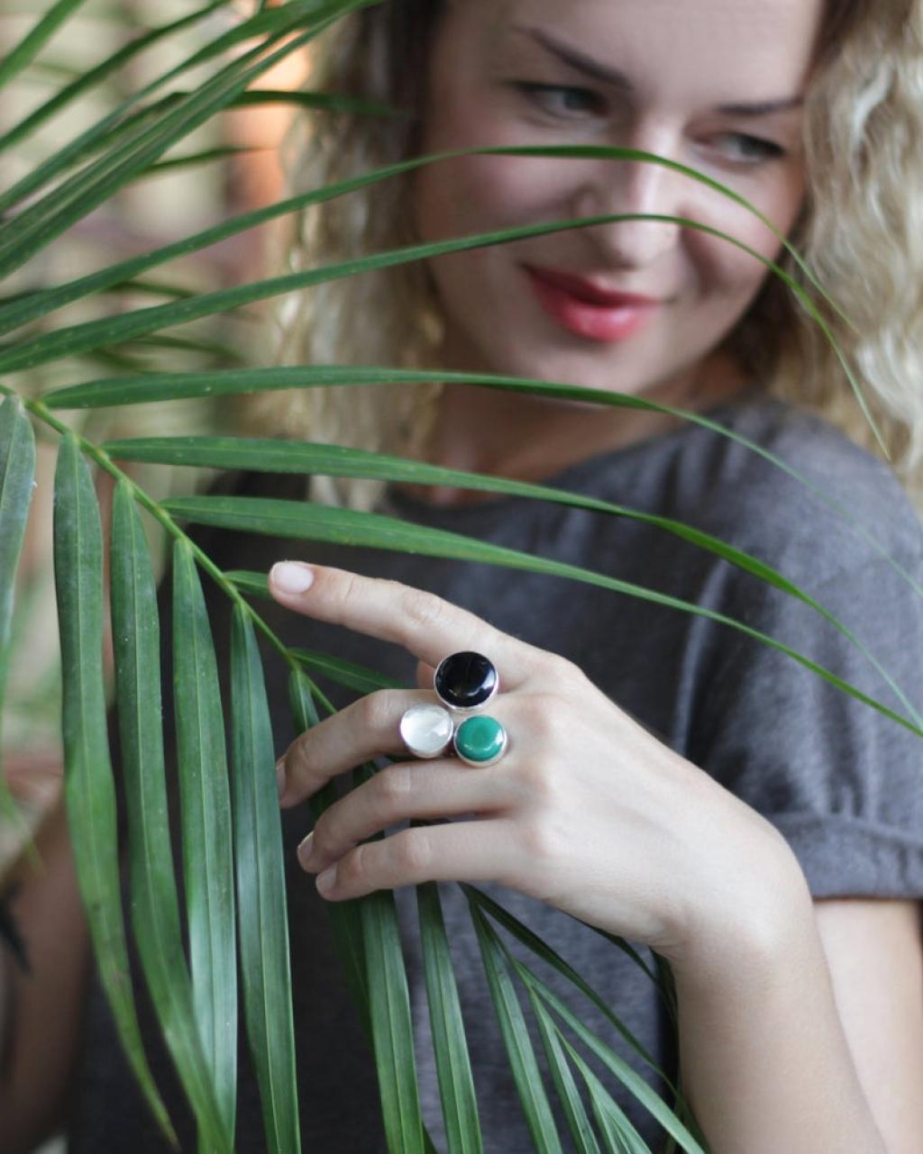 Malachite ring Multi stone ring December birthstone ring Silver open ring Crystal ring Three stone ring Onyx ring Zodiac ring