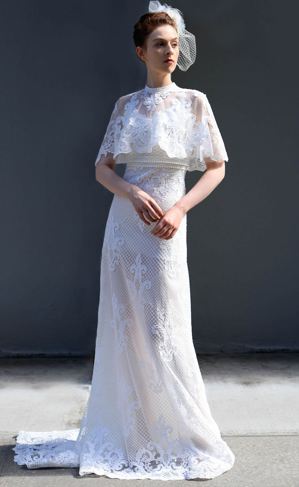 Luxury Wedding Dress With Short Attached Cape