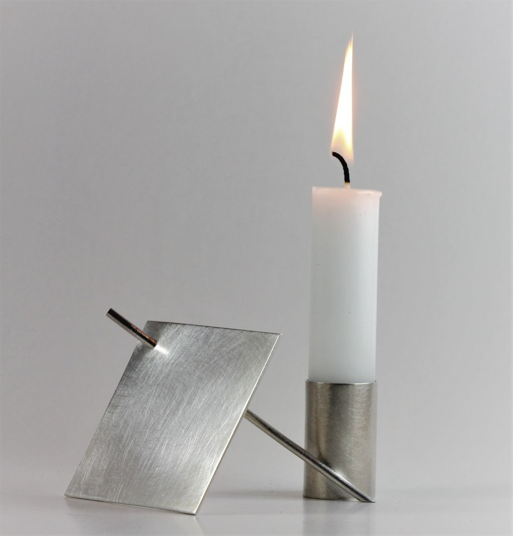 Conemporary Silver Candle Holder