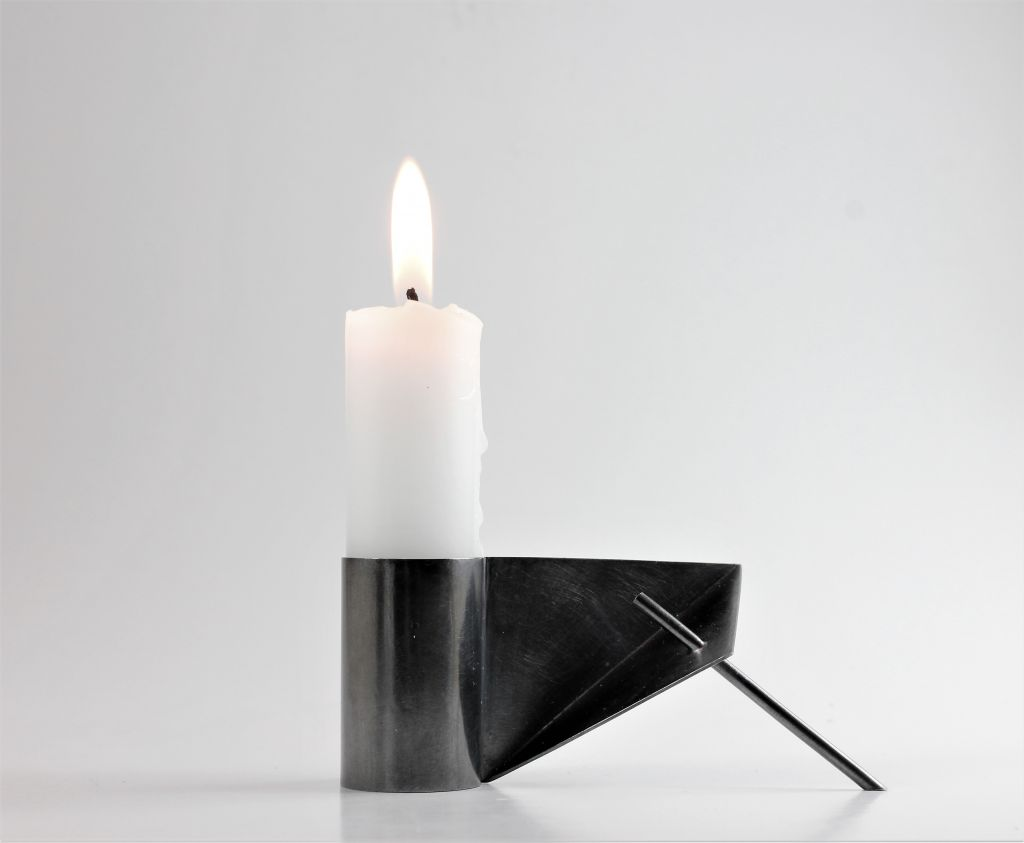 Black Oxidised Silver Candle Holder