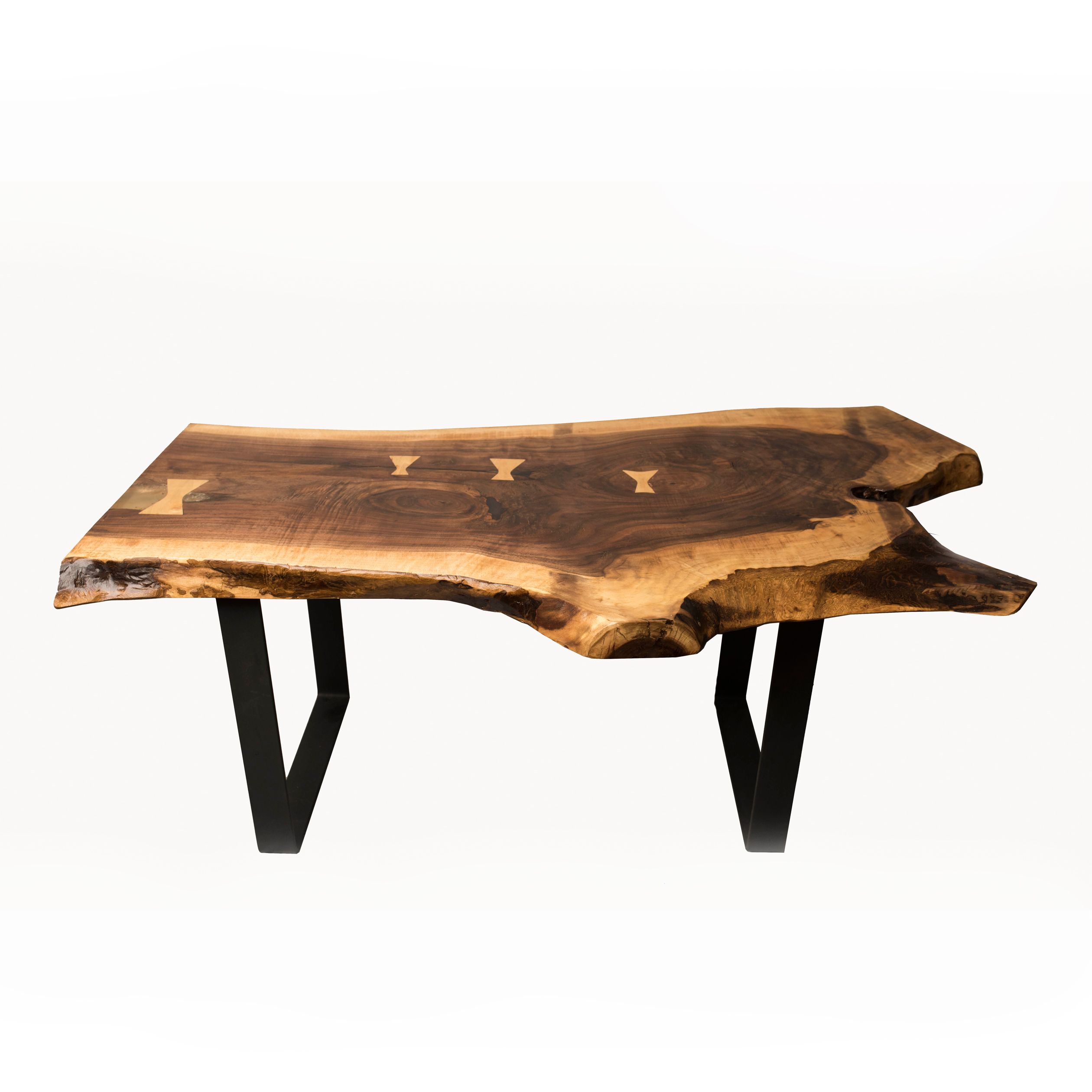 Live Edge Square Coffee Table: Walnut Live Edge Coffee Table
