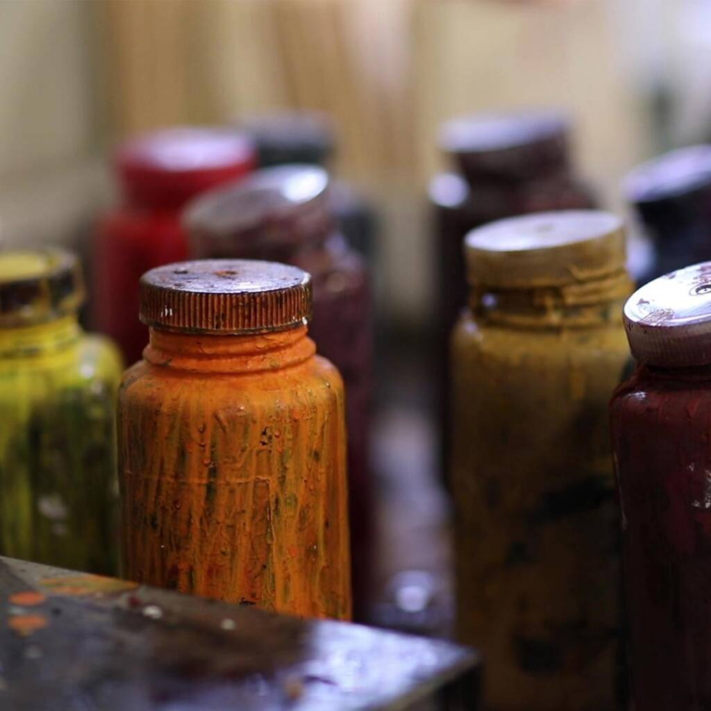 Cortina Leathers jars of colored dyes