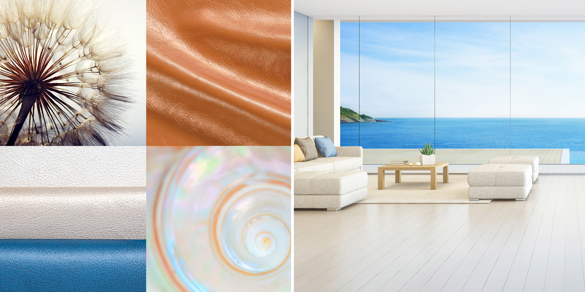 photo collage of seaside home and seashells