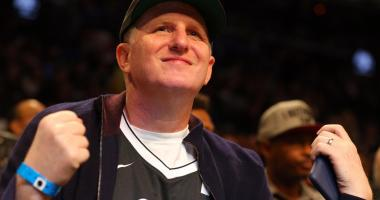 American actor Michael Rapaport sits courtside during the second quarter between the Brooklyn Nets and the Orlando Magic at Barclays Center.