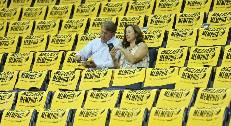 Fans arrive early prior to game three of the first round of the 2017 NBA Playoffs between the San Antonio Spurs Memphis Grizzlies at FedExForum.