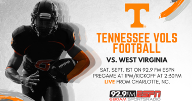 Vols vs WV Sept 1 on 92.9 FM ESPN