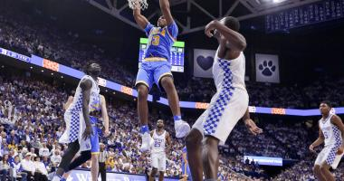 UCLA Bruins forward Ike Anigbogu (13) dunks the ball against Kentucky Wildcats in the first half at Rupp Arena.
