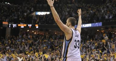 Memphis Grizzlies center Marc Gasol (33) celebrates during the second half against the San Antonio Spurs in game four of the first round of the 2017 NBA Playoffs at FedExForum. Memphis Grizzlies defeated the San Antonio Spurs 110-108 in overtime.