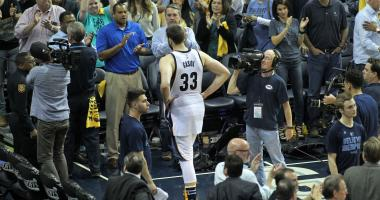 Memphis Grizzlies center Marc Gasol (33) walks off the court after game six of the first round of the 2017 NBA Playoffs against the San Antonio Spurs at FedExForum.