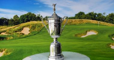 The US Open Championship Trophy seen in the Lexus fan experience during the opening practice round of the U.S. Open golf tournament at Erin Hills.