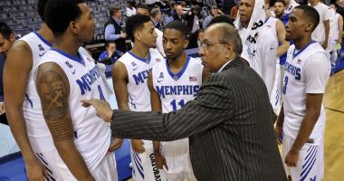 Memphis Tigers head coach Tubby Smith and the Memphis Tigers after the game against the Tulane Green Wave at FedExForum. Memphis Tigers defeated the Tulane Green Wave 92-70.