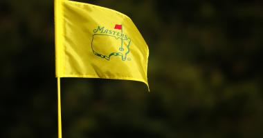 Masters pin flag at the 7th hole during the Tuesday practice round at Augusta National GC.
