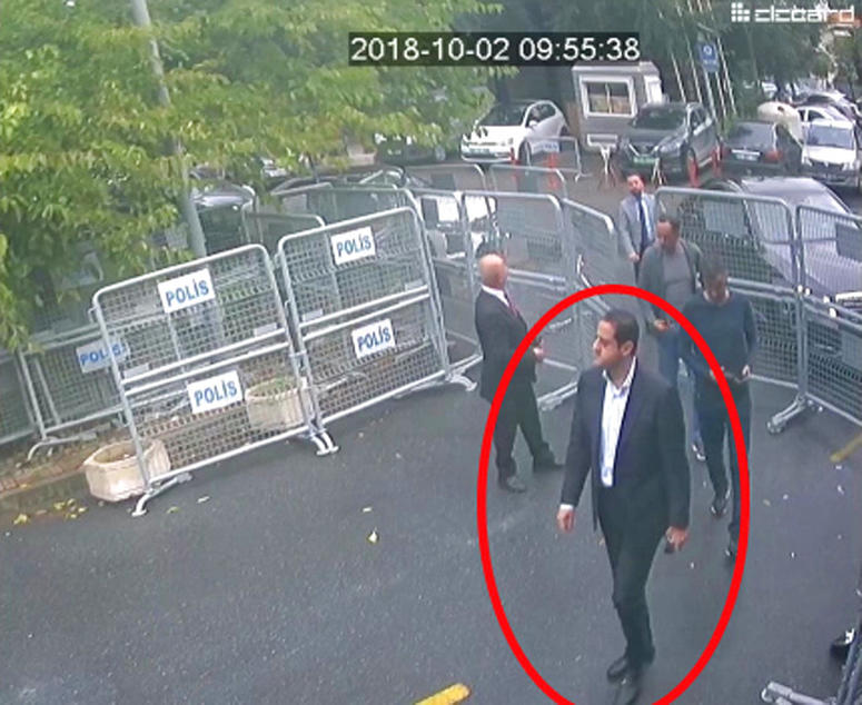 A man identified by Turkish officials as Maher Abdulaziz Mutreb, walks toward the Saudi Consulate in Istanbul before writer Jamal Khashoggi disappeared.