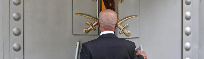 A man enters Saudi Arabia's consulate in Istanbul, Friday, Oct. 19, 2018.