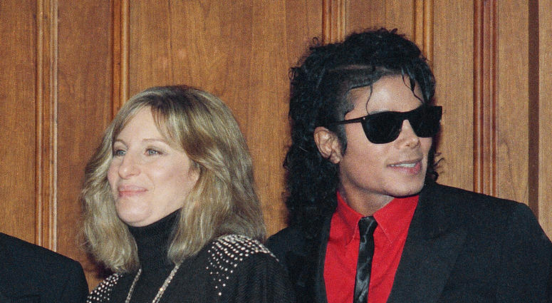 singers Barbra Streisand and Michael Jackson attend the Scopus Awards of the American Friends of the Hebrew University ceremony in Los Angeles