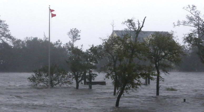 High winds and storm surge from Hurricane Florence hits Swansboro N.C.,Friday, Sept. 14, 2018