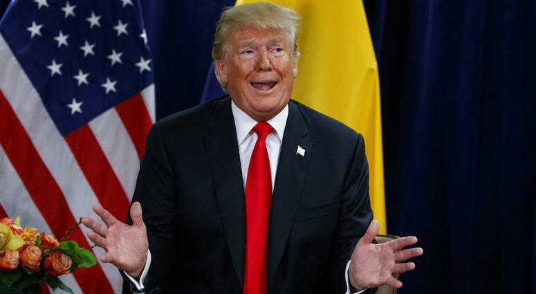 President Donald Trump answers a reporters question about Supreme Court Justice nominee Brett Kavanaugh during a meeting with Colombian President Ivan Duque at the United Nations General Assembly