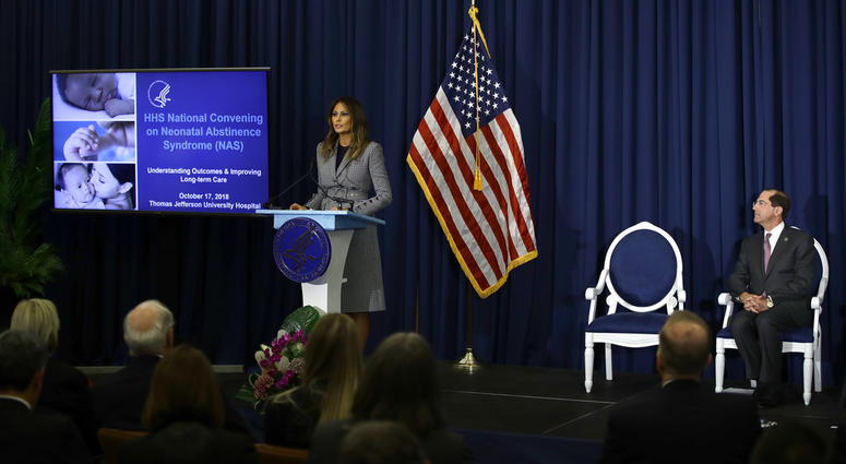 First lady Melania Trump speaks at Thomas Jefferson University Hospital