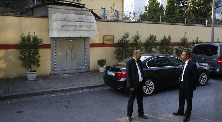 Security personnel guard Saudi Arabia's consulate in Istanbul