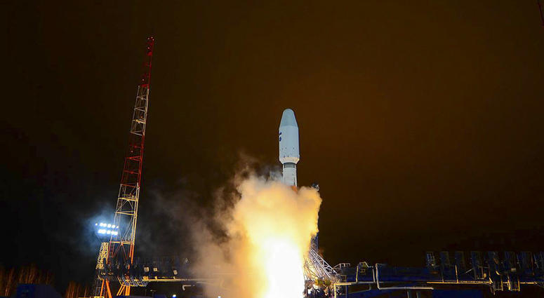 A Russian Soyuz-2 booster rocket takes off from the Plesetsk launch facility in northwestern Russia.
