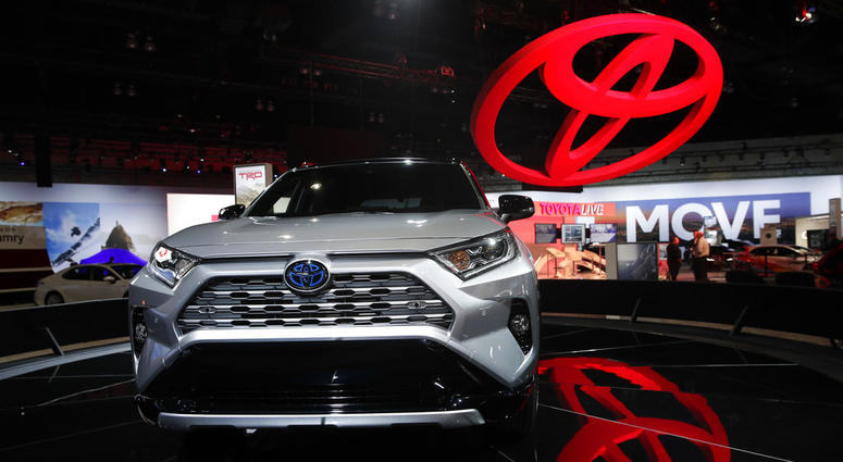 the 2019 Toyota RAV4 is displayed at the Los Angeles Auto Show in Los Angeles.