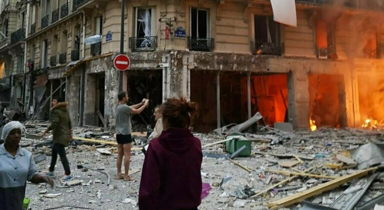 The scene of a gas leak explosion in Paris, France