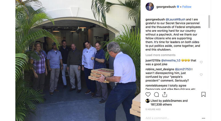 former President George W. Bush's Instagram account on Friday, Jan. 18, 2019, Bush, right, delivers pizzas to his secret service detail in Florida