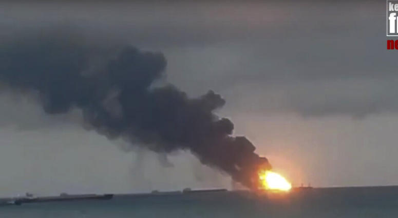 Two Tanzanian-flagged commercial vessels caught fire in the Black Sea