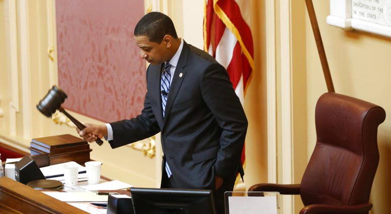 Virginia Lt. Gov. Justin Fairfax, gavels the session to order at the start of the Senate session at the Capitol in Richmond, Va., Friday, Feb. 8, 2019.