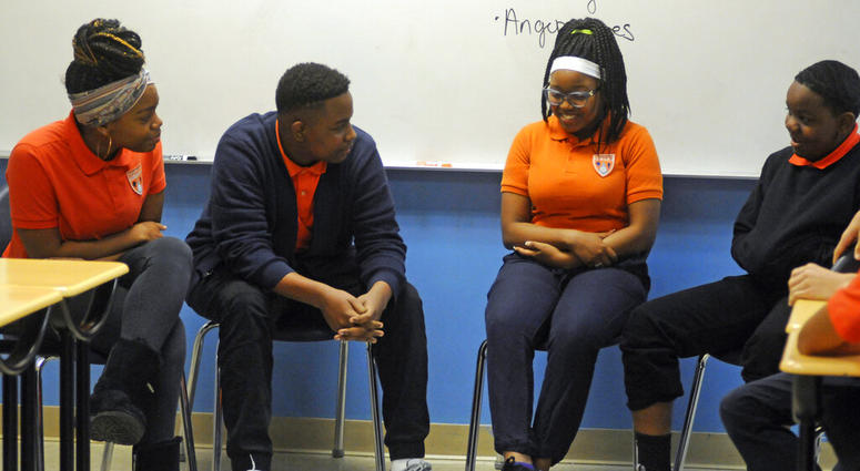 students participate in a Youth Aware of Mental Health session at Uplift Hampton Preparatory School in Dallas. University of Texas Southwestern Medical Center