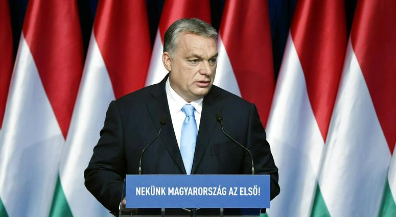 "Hungarian Prime Minister Viktor Orban delivers his annual ""State of Hungary"" speech in Budapest, Hungary, Sunday, Feb. 10, 2019"