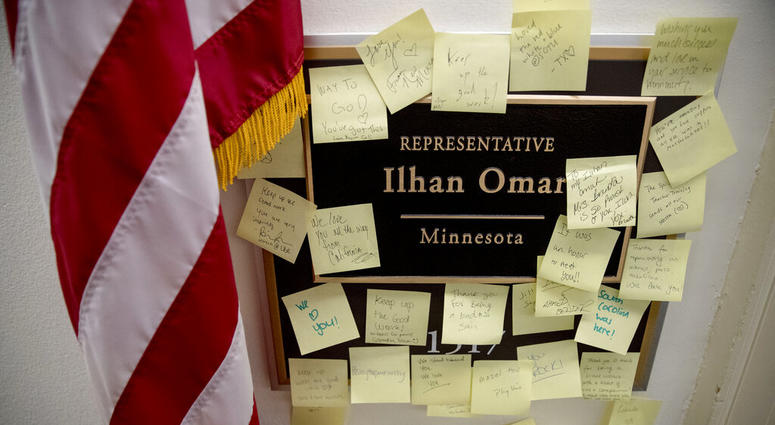 People leave post-it notes of support outside the office of Rep. Ilhan Omar, D-Minn., on Capitol Hill, Monday, Feb. 11, 2019, in Washington.