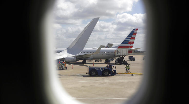 """American Airlines aircrafts aircrafts are seen at O""""Hare International Airport in Chicago"""
