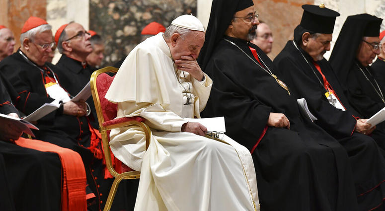 Pope Francis attends a penitential liturgy at the Vatican, Saturday, Feb. 23, 2019. The pontiff is hosting a four-day summit on preventing clergy sexual abuse, a high-stakes meeting designed to impress on Catholic bishops around the world that the problem
