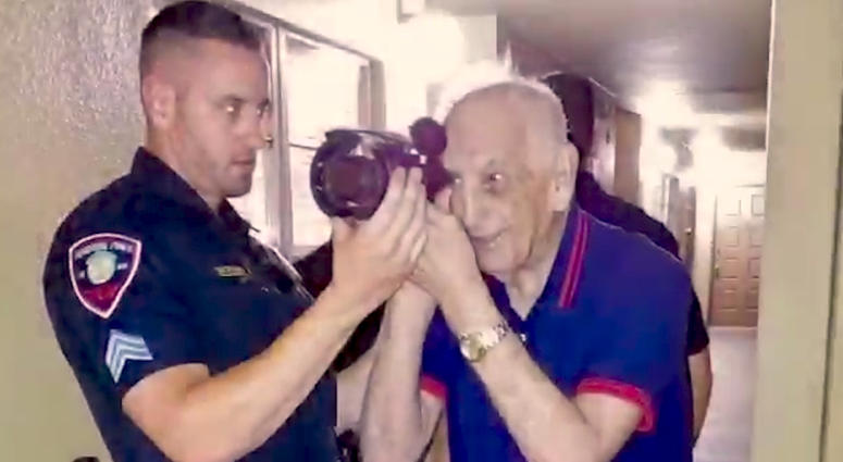 Police Officer Helps Nearly Blind 88-Year-Old Veteran See with Night Vision Goggles