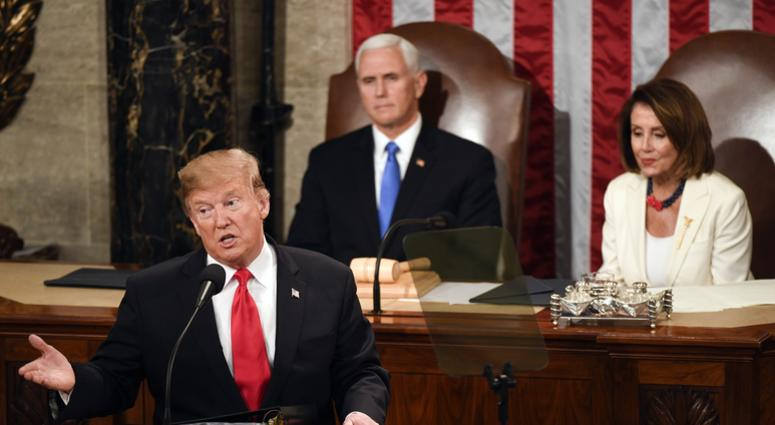 President Donald Trump delivers the State of the Union address from the House chamber of the United States Capitol in Washington.