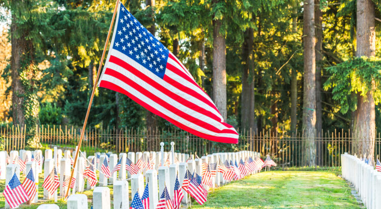 Flags at National Cemetery