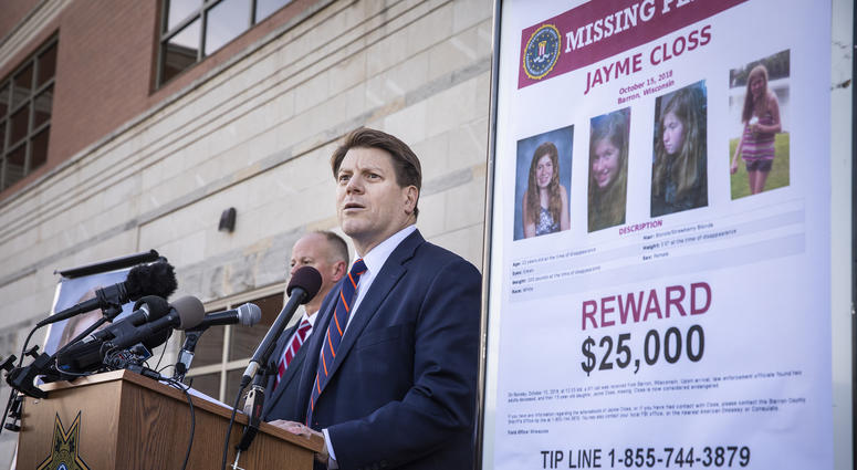 Special agent in charge Justin Tolomeo from the FBI's Milwaukee office speaks about a new $25,000 reward for information on the whereabouts of Jayme Closs