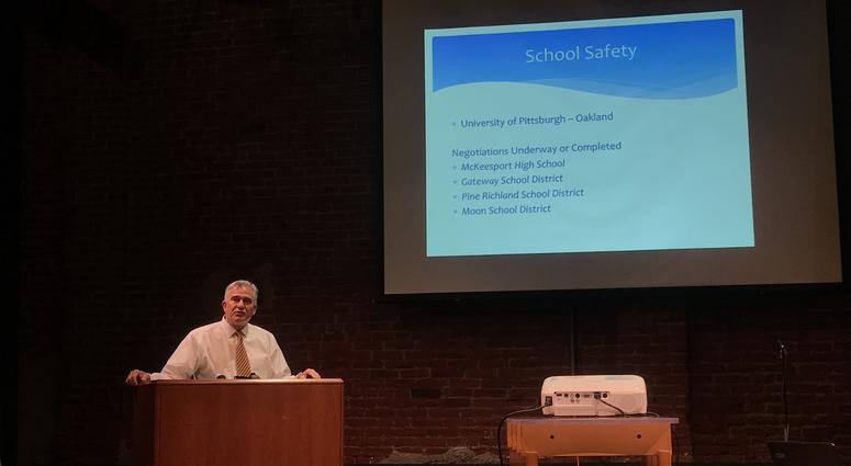 Allegheny County District Attorney Stephen A. Zappala, Jr. gives his presentation on cameras in the South Side.