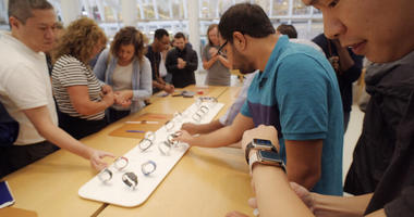 Apple Watches at an Apple store in New York