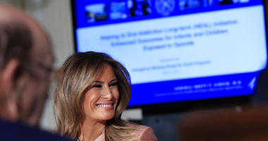 First lady Melania Trump, speaks during a meeting of the Interagency Working Group on Youth Programs in the State Dining Room of the White House in Washington, Monday, March 18, 2019. The goal is to build upon and improve youth programs that align with he