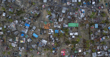 Seen from a drone Praia Nova Village, one of the most affected neighbourhoods in Beira, razed by the passing cyclone, in the coastal city of Beira, Mozambique, Sunday March 17, 2019.