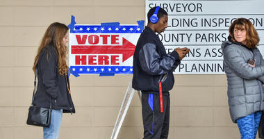 Voters were lined up outside polling place