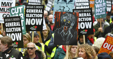 People's Assembly Against Austerity stage a rally in central London calling for a general election.