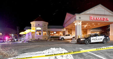 State College Police respond to a shooting at P.J. Harrigan's Bar & Grill at the Ramada Inn Thursday, Jan. 24, 2019, in State College, Pa.