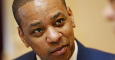 Virginia Lt. Gov. Justin Fairfax is prepped for the Senate session at the Capitol in Richmond, Va.,
