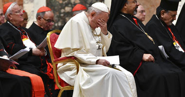 Pope Francis attends a penitential liturgy at the Vatican, Saturday, Feb. 23, 2019.